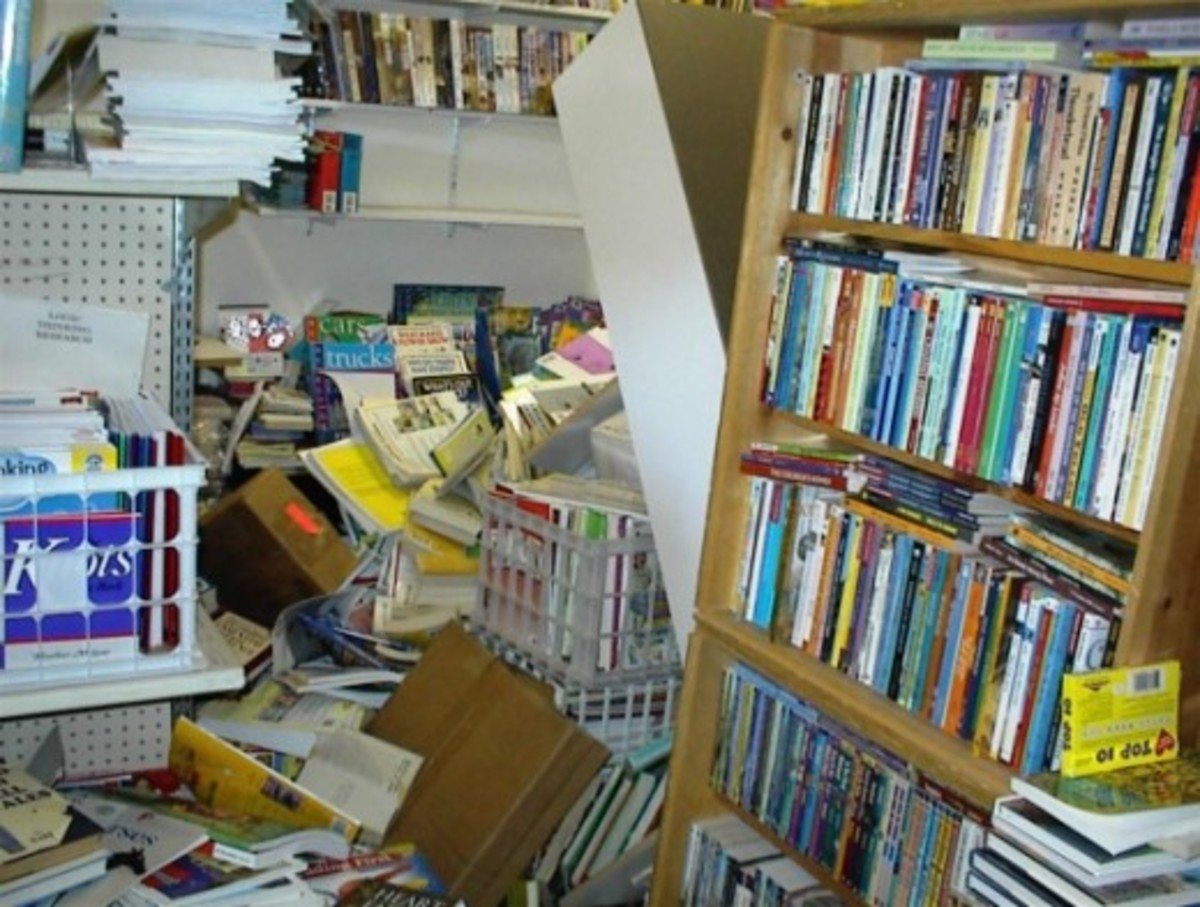 Large cases also fell halfway and dumped the books.