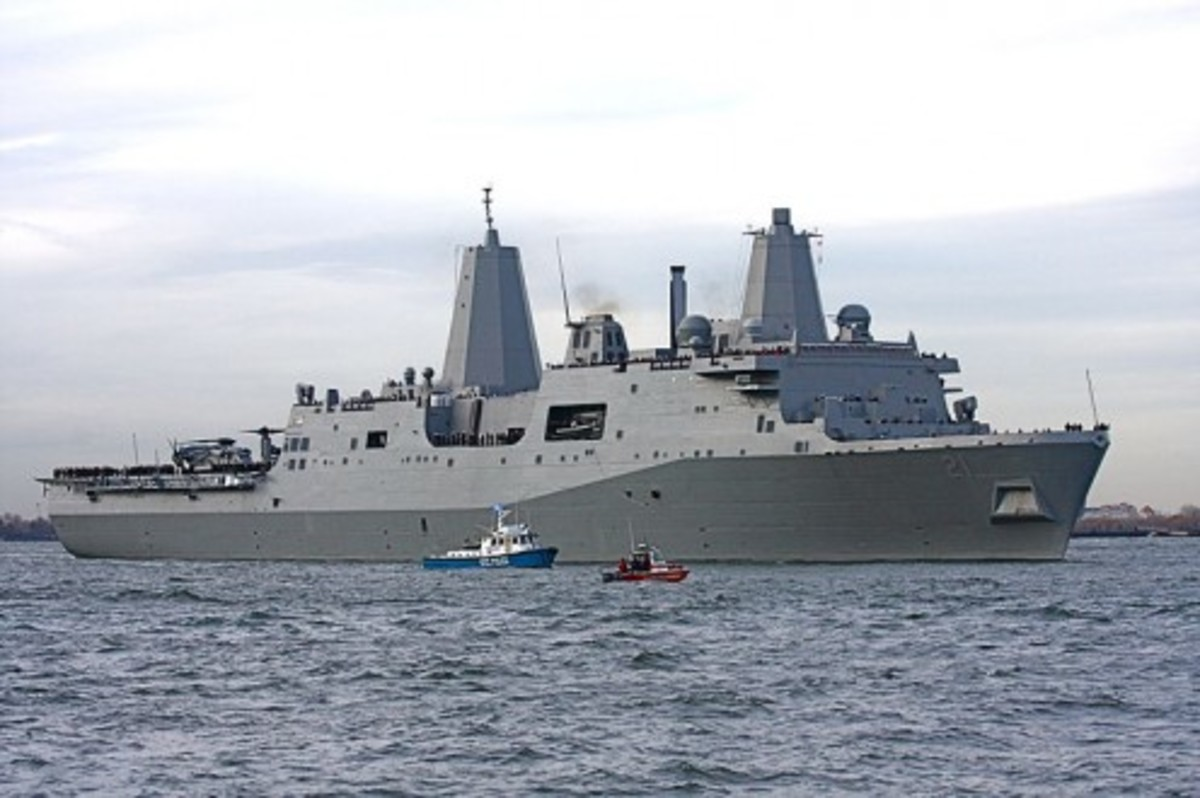 The USS New York as she sails down the Hudson River in NYC in 2009. The ship was recycled out of the remains of the World Trade Center.
