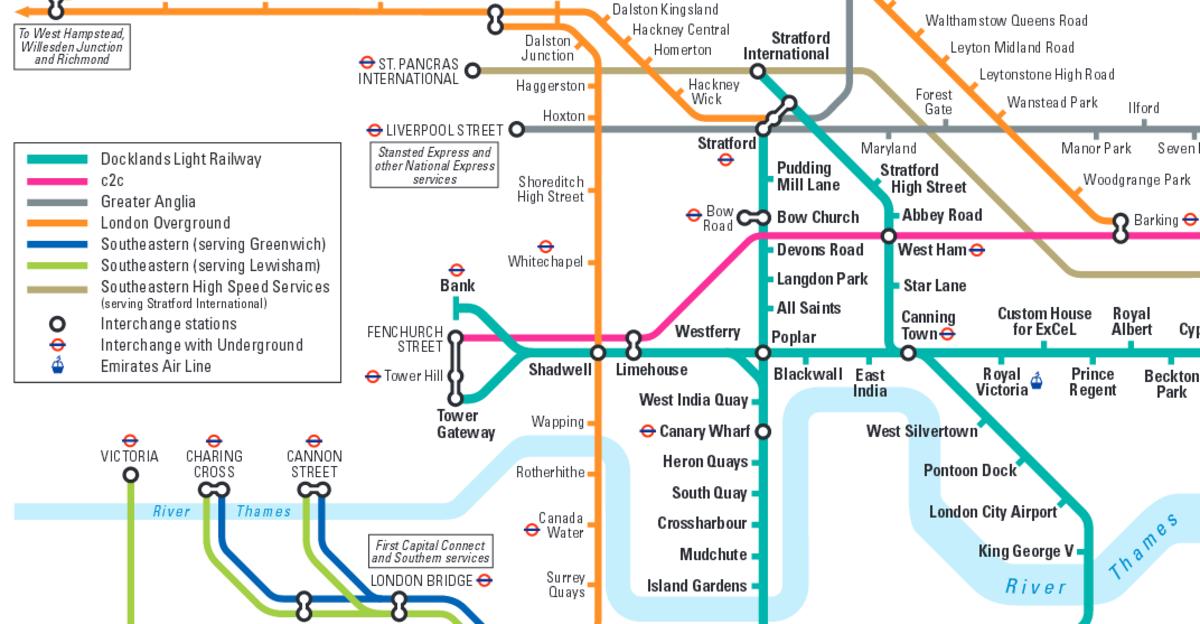 London East rail connections - TfL (Overground, Underground, DLR)