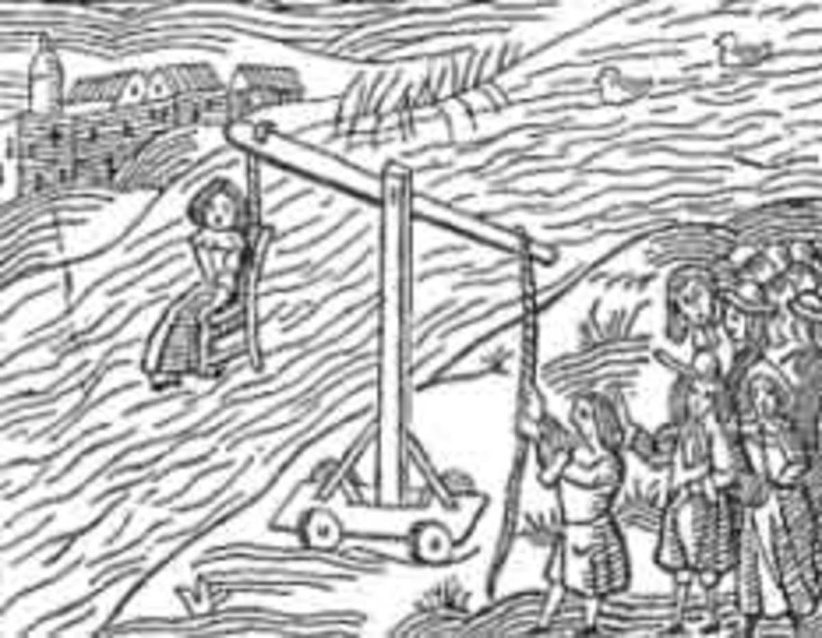 Depiction of an ordeal by cold water
