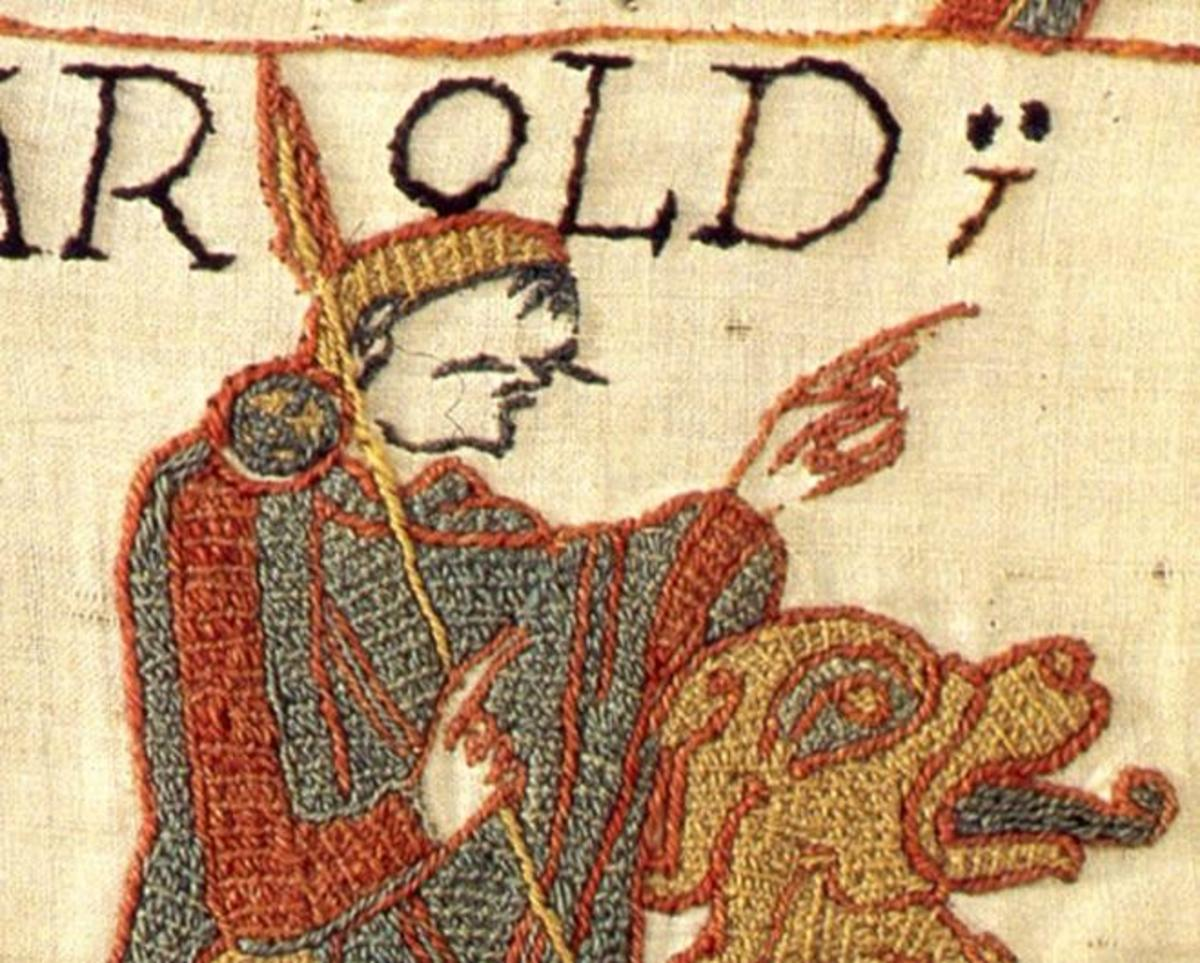 Earl Harold was fond of hunting - he's depicted here on the Bayeux Tapestry, hunting in Normandy in detail AD 1065 (?) in the company of Duke William