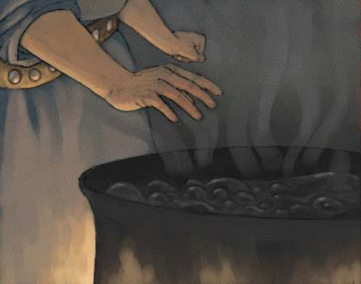 Depiction of an ordeal by hot water.