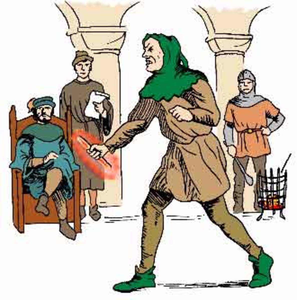 Depiction of an ordeal by hot iron.