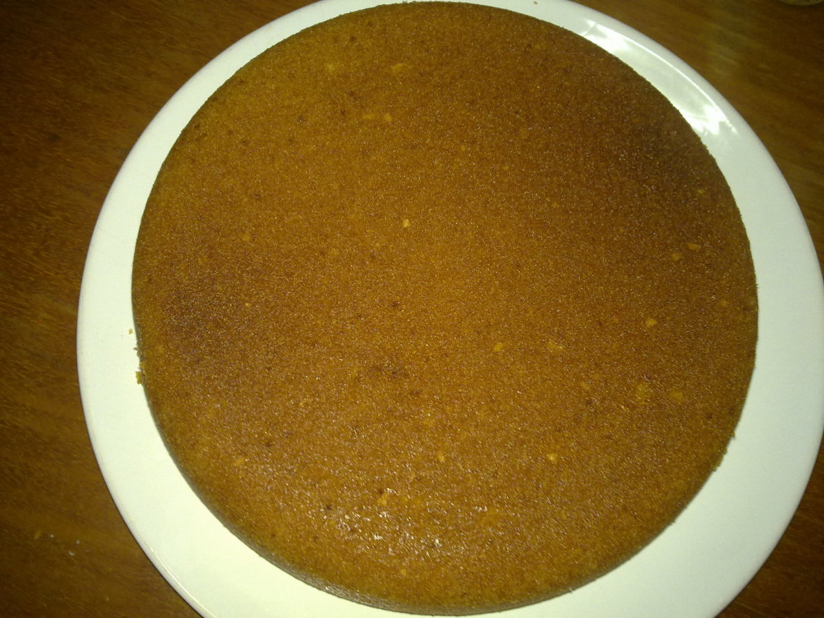 The bottom of the cake facing here