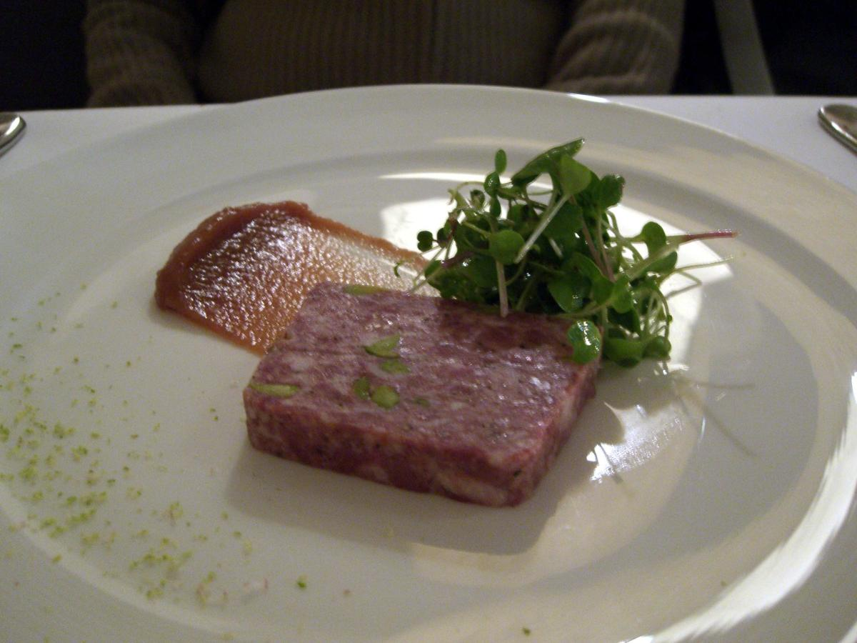 Pork terrine is a worldwide favorite:  pork terrine with watercress and relish of pears and dates ~ Est Restaurant, Sydney, southeastern Australia