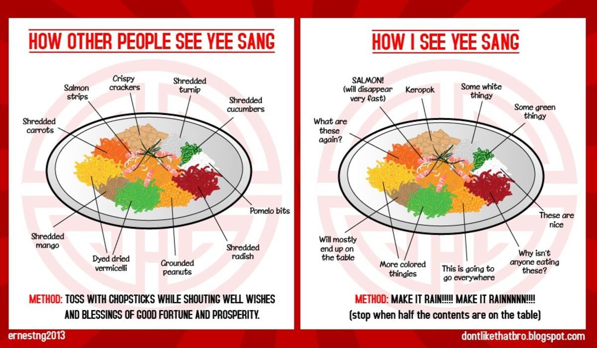 The ingredients of Yee Sang