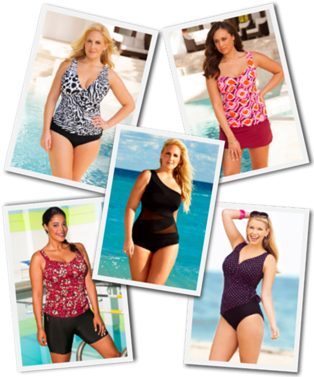 A few plus size swimsuit options from Swimsuits for All.