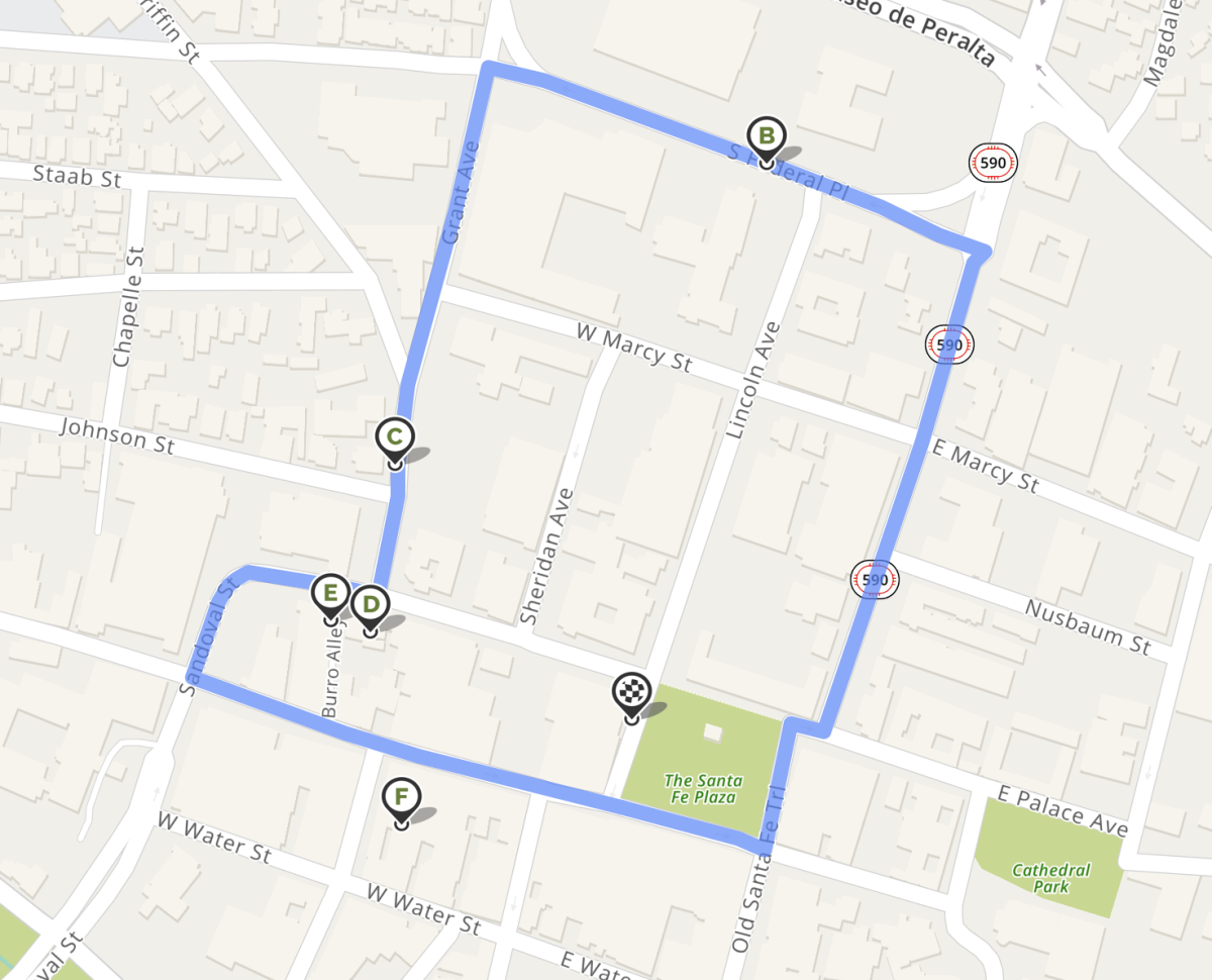 Your tour route. Start and end at the Santa Fe Plaza