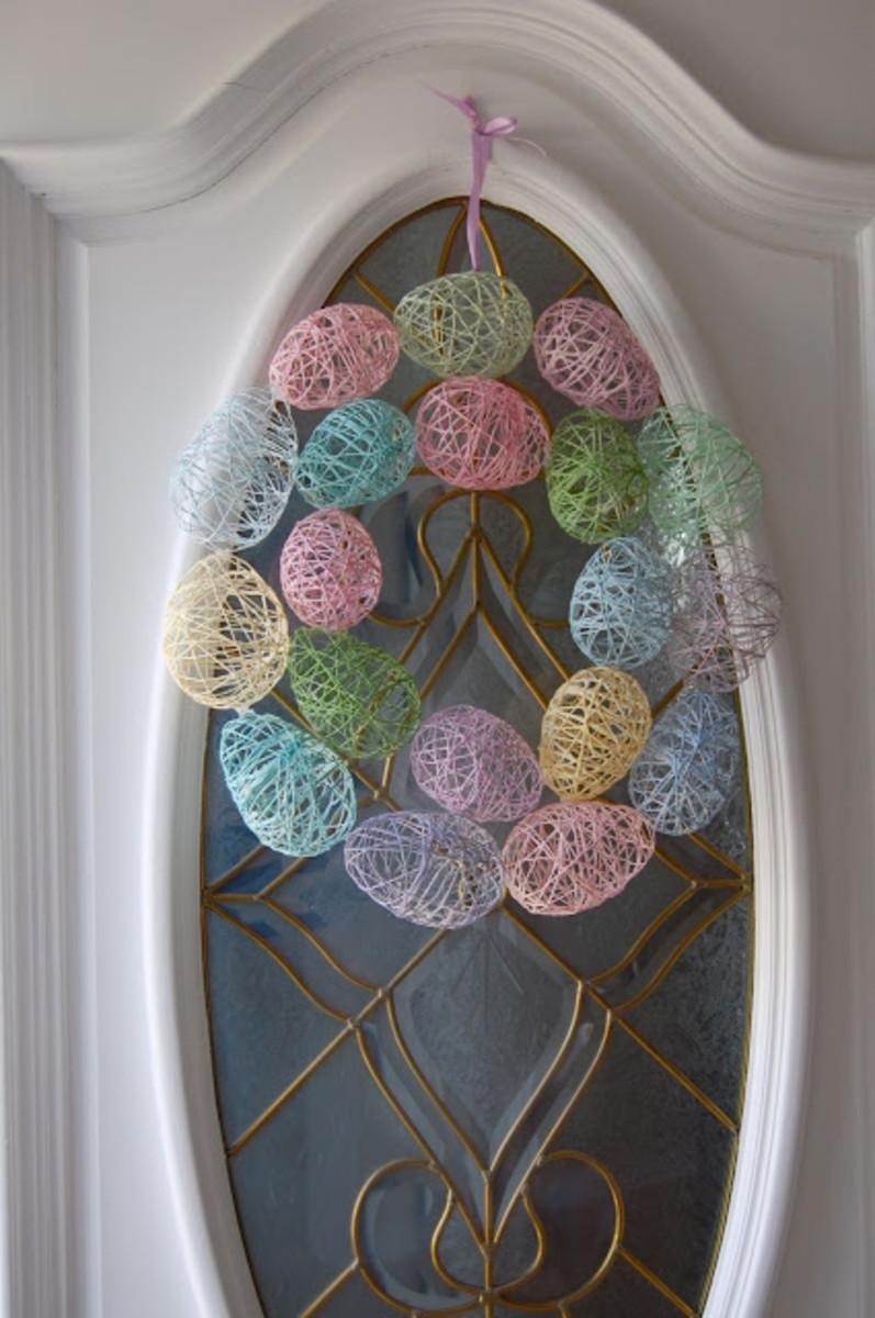 String Easter Egg Wreath DIY