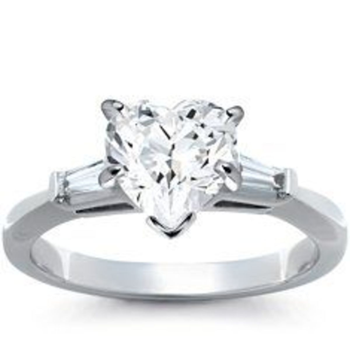 James Allen heart shaped diamond in tapered baguette setting