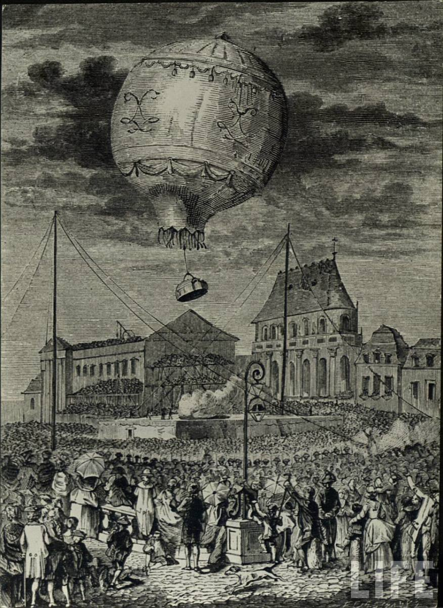 THE FIRST MANNED FLIGHT IN HISTORY WAS IN PARIS IN JUNE OF 1783 IN THE MONTGOLFIER BROTHER'S HOT AIR BALLOON