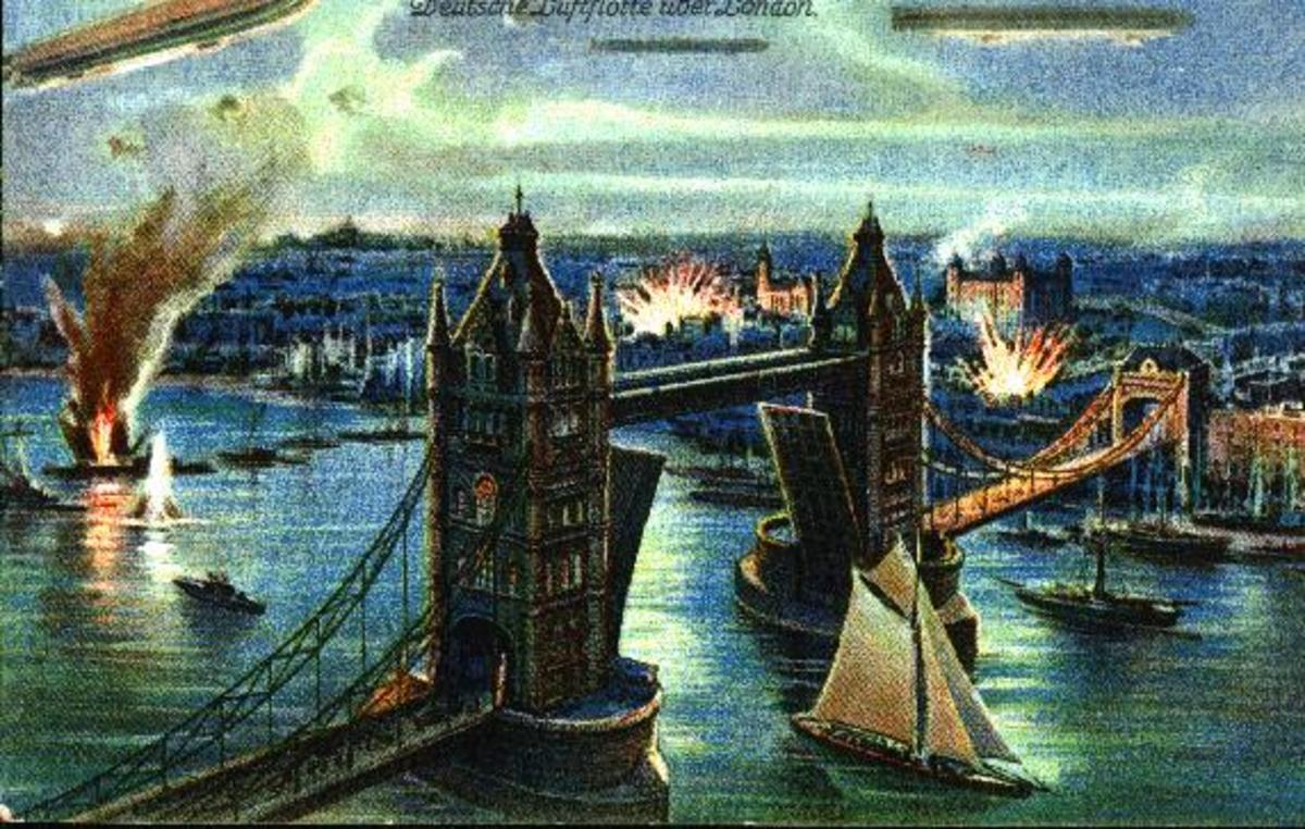 ZEPPELINS BOMB LONDON DURING WORLD WAR ONE