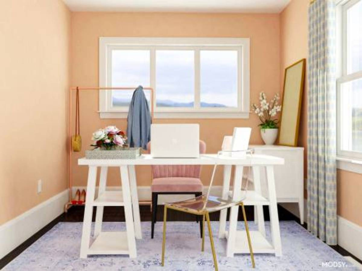 Incorporate peachy  in your home  office.