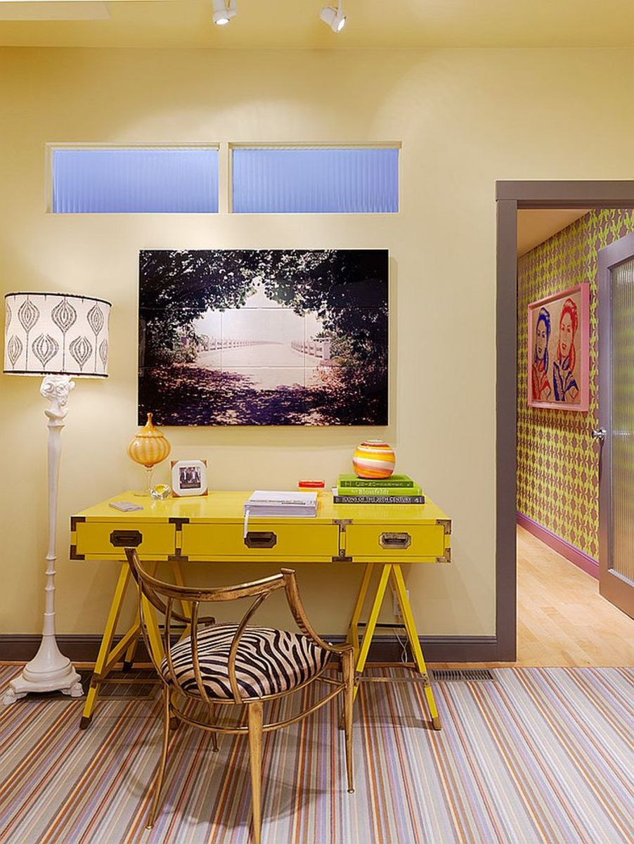 This is a pastel yellow desk room. The desk yellow is bright!