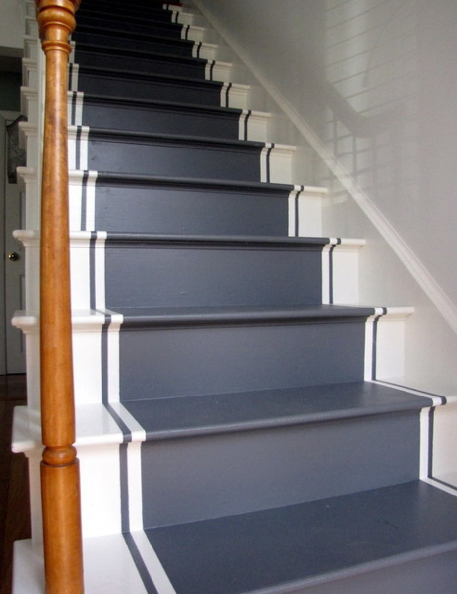 The painted stair runners are a wonderful. The runner is the paint and  are more casual
