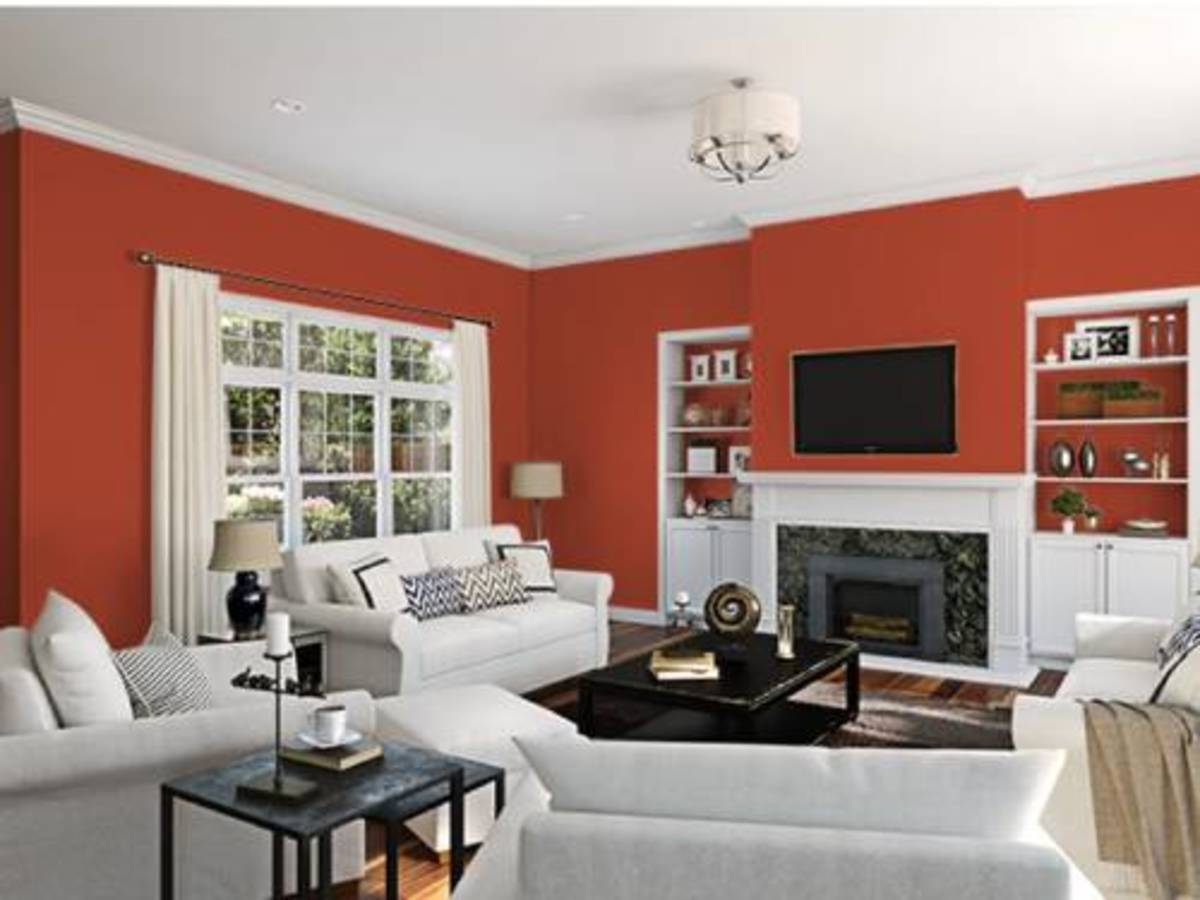 The cayenne paint color is matching in the living room.