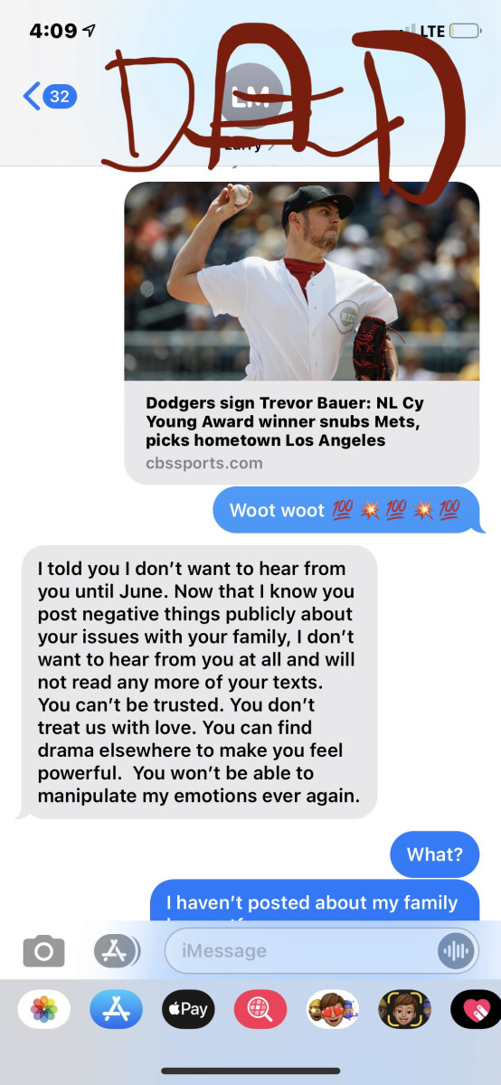 "Real Life Story:  ""Emily's"" father's response to a baseball article. She has limited contact and only superficial. This was his response (highlight real life example of narcissistic father.)"