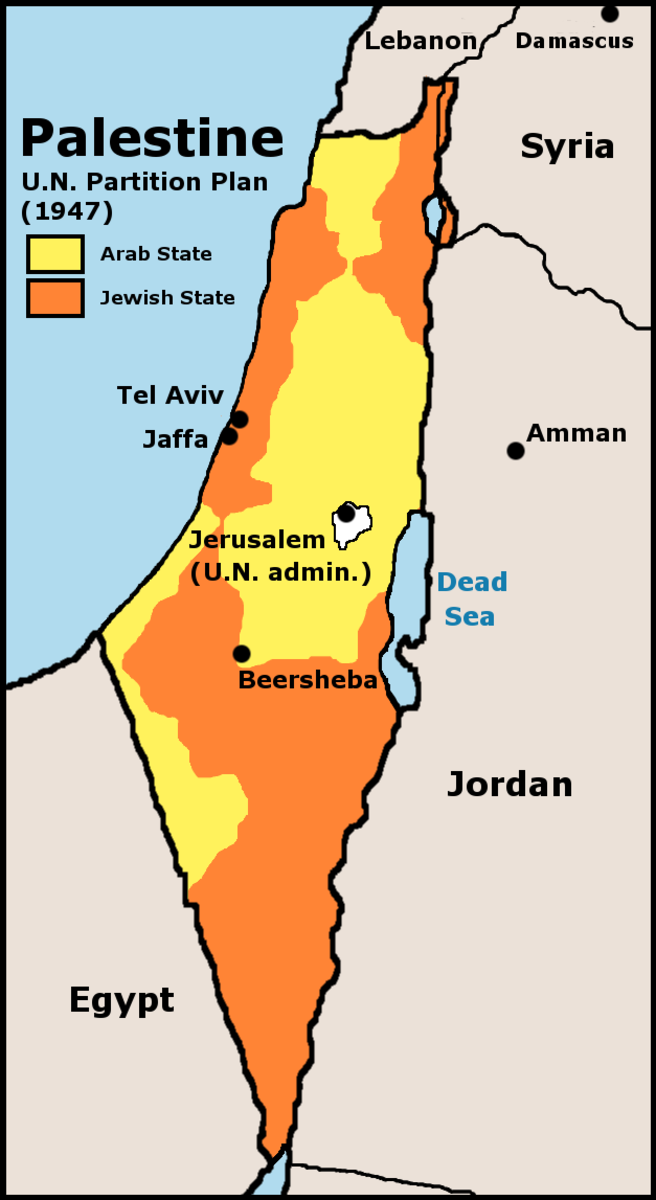 UNITED NATIONS PLAN TO PARTITION ISRAEL FURTHER IN 1947 TO ORANGE AREAS ONLY (NOTICE IT GETS SMALLER ON EACH MAP AND EACH TIME THE JEWS AGREE AND THE ARABS DO NOT)