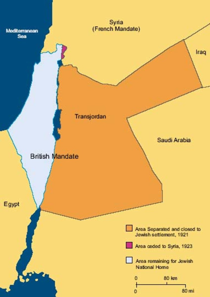 BRITISH PARTITION 1921 REDUCING JEWISH NATIONAL HOME TO POWDER BLUE AREA IN ORDER TO APPEASE ARABS WITH LAND IN ORANGE