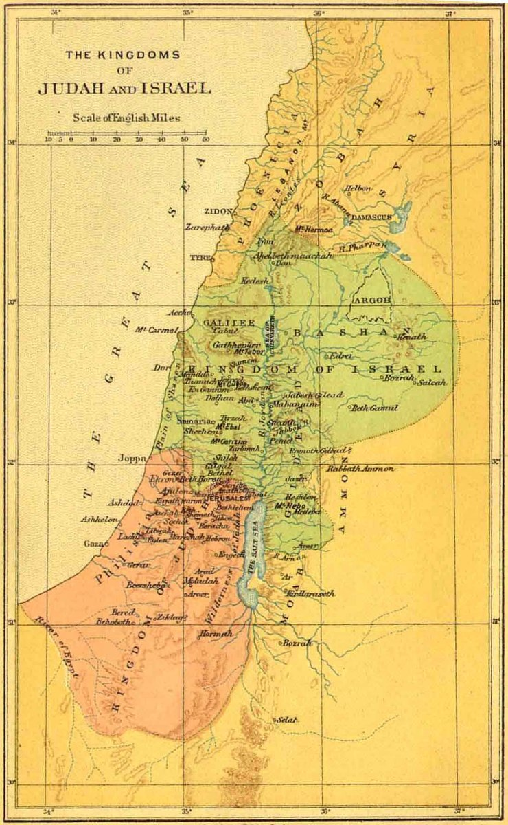 THE KINGDOM DIVIDED AFTER SOLOMON INTO JUDEA (PINK) AND ISRAEL (GREEN)