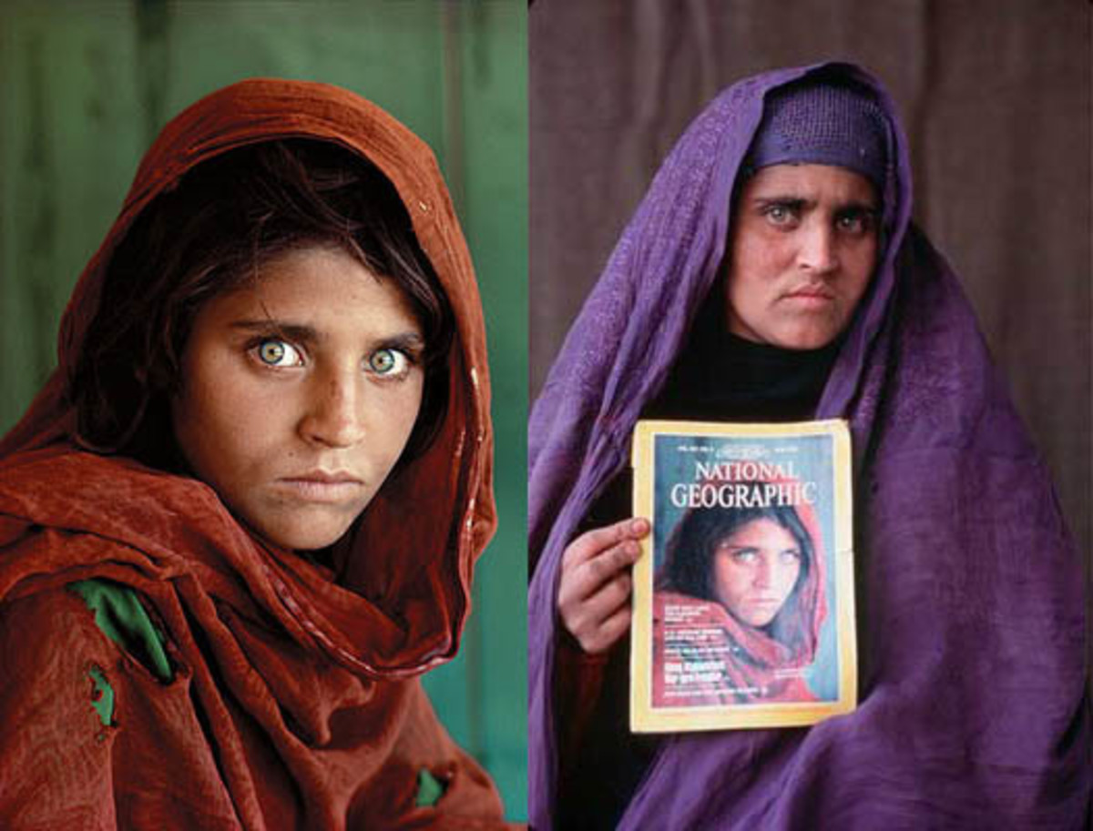 The reunion between the woman with green eyes and the photographer was quiet. On the subject of married women, cultural tradition is strict. She must not look—and certainly must not smile—at a man who is not her husband. She did not smile at McCurry.