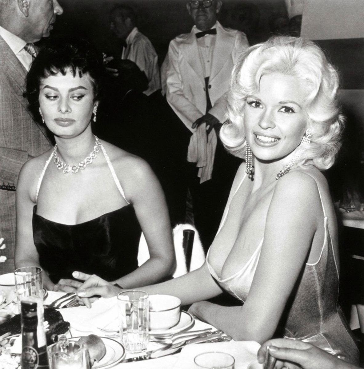 Sophia Loren looks, with envy, at Jayne Mansfield
