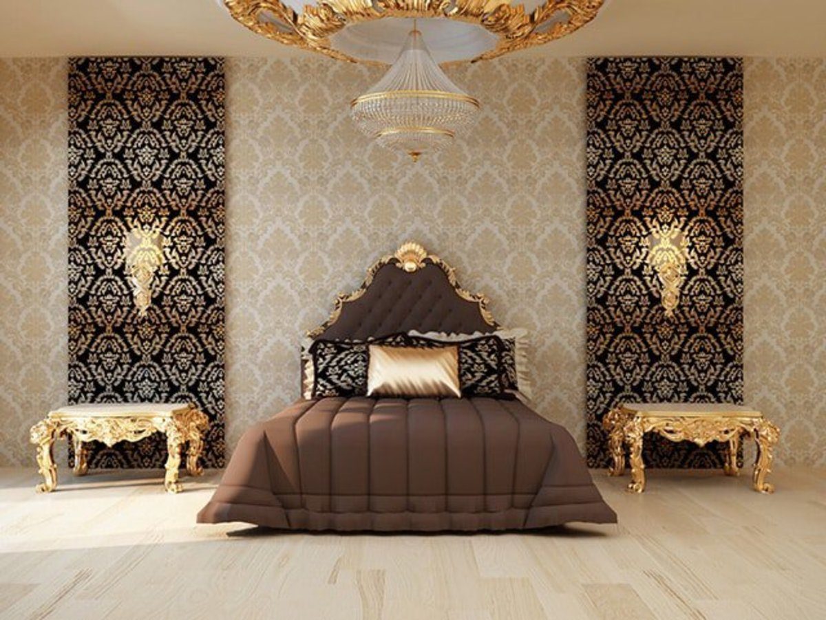 This bedroom is opulent but fits the style for the Chinese Zodiac Rooster. They like the colors, the use of metal, and the seriousness of it all.