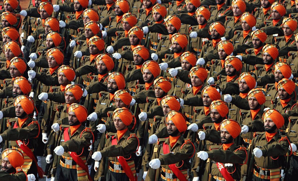 Indian Army-Sikh Light Infantry regiment march past during the Republic Day parade