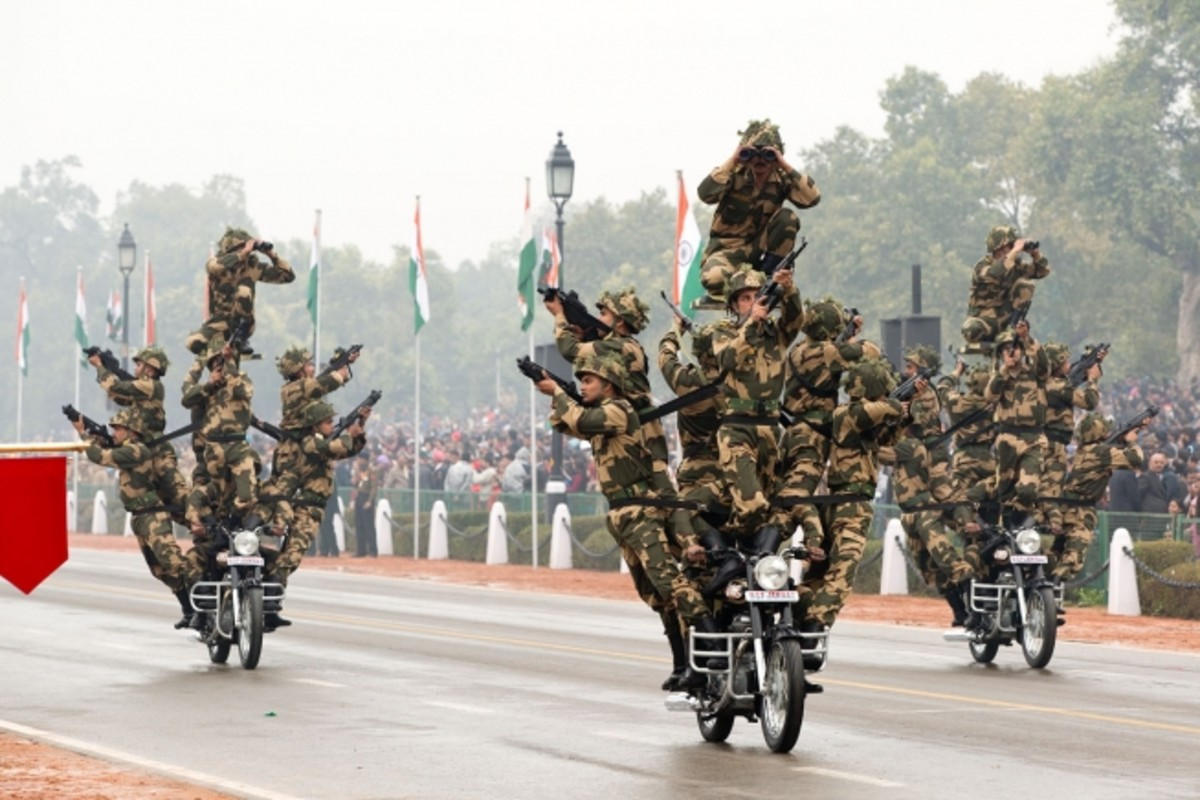 Members Of The Indian Military On Motorcycles During The 2015 Republic Day Parade