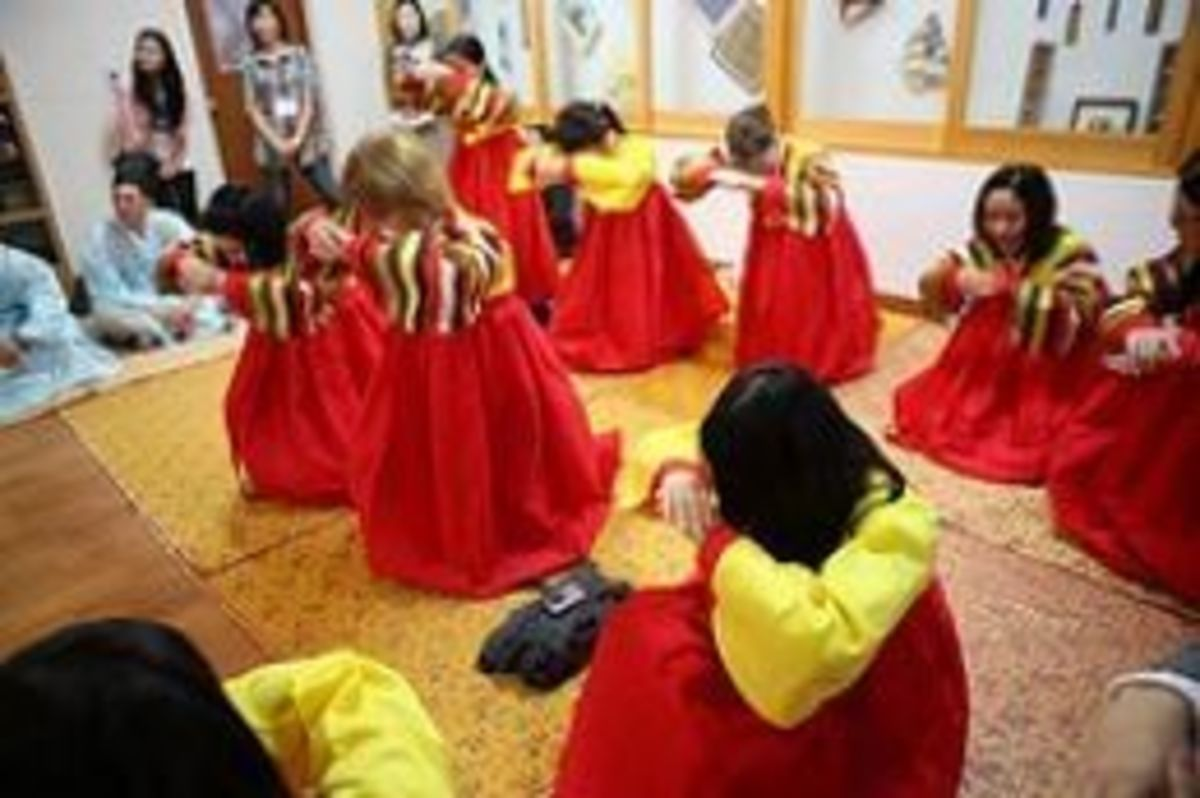 Local Korean cultural students wearing Hanboks in their dance performance.