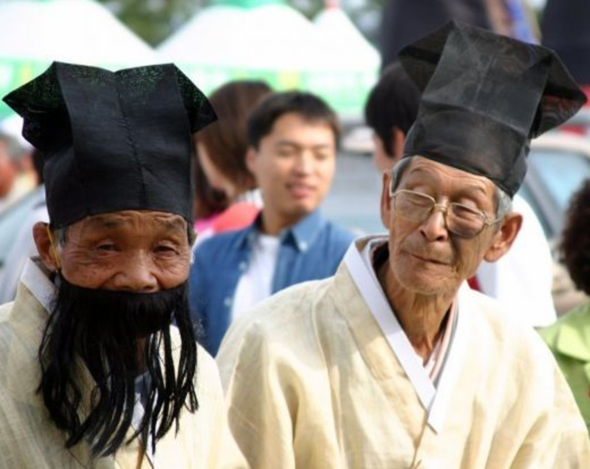 Two old men in Andong wearing hanbok