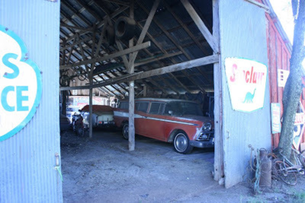 Inside one of the barns at the Muscle Car Ranch