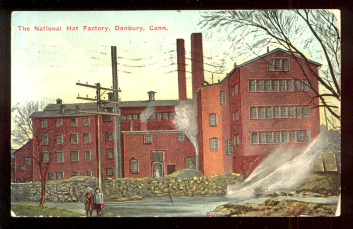 A large hat factory in Danbury CT during the early 1900s.