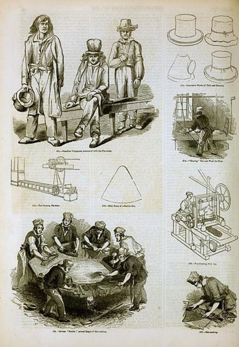 The manufacturing of felt hats.