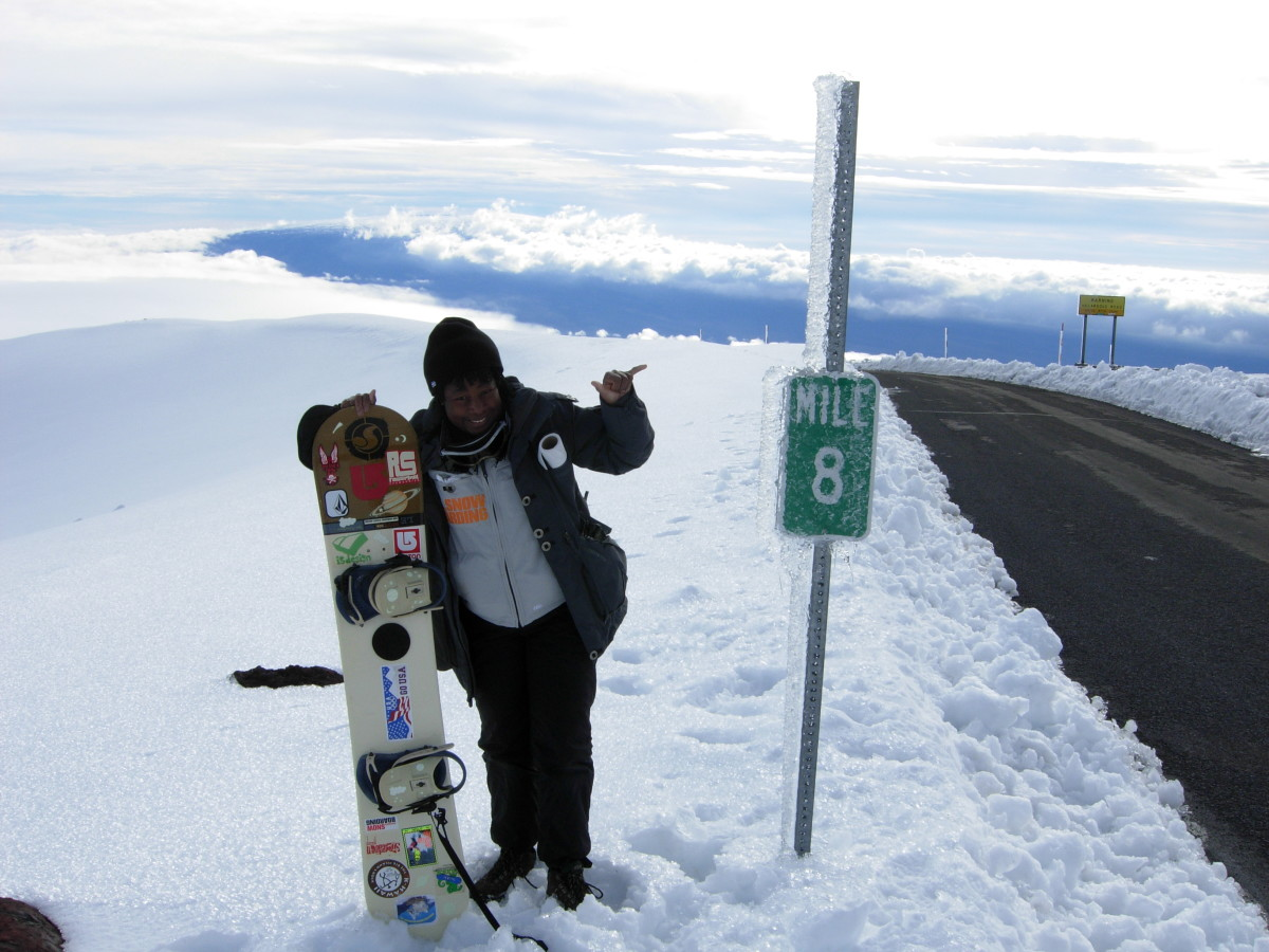 Snowboarding on Mauna Kea, Hawaii