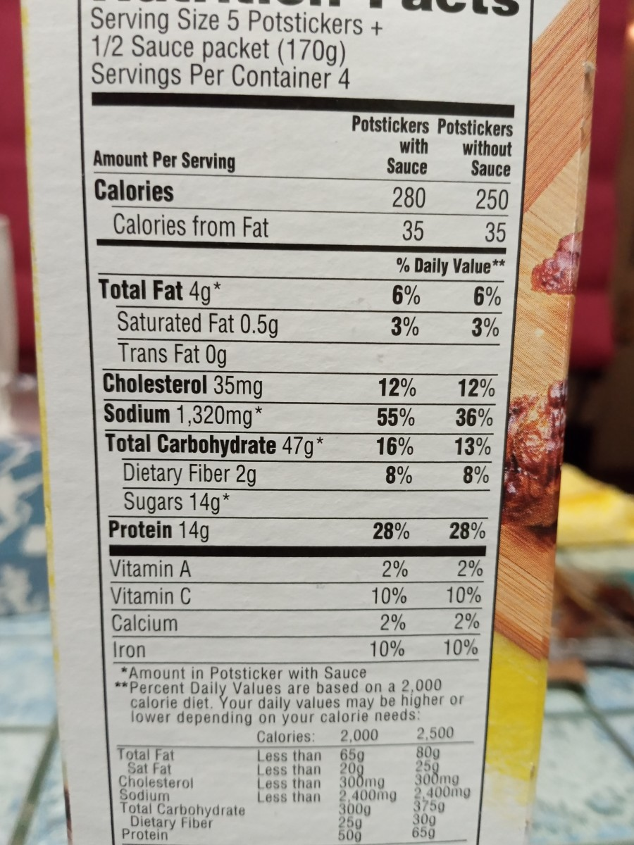 Nutritional information for Ling Ling brand potstickers
