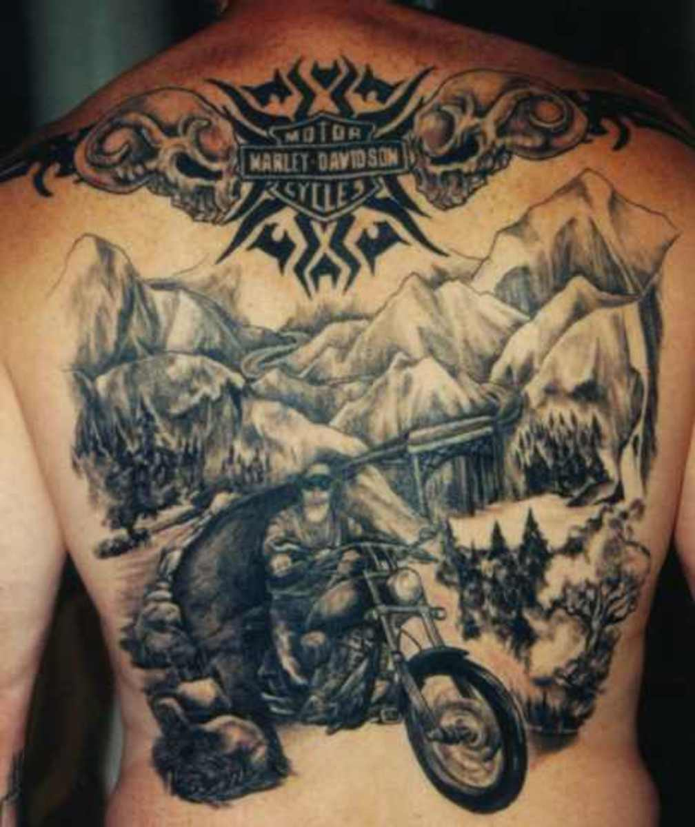 Harley Davidson Tattoo Scene In Mountains