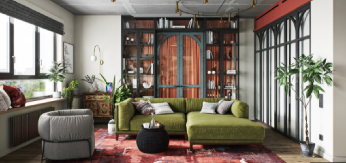 The living room for the Chinese Zodiac Dog. It should be a mix of green and red. It should be spacious, inviting, and charming. People should feel welcome to talk, hang out, and play.