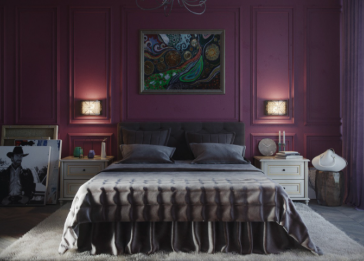 Purple. It's the color of dreams. The night sky. It's a color befitting the Chinese Zodiac Dog. This color is excellent in the bedroom.