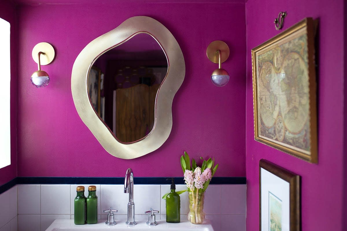 Does your bathroom need a jolt of purple? The Chinese Zodiac Dog would love a bright purple wall, silver metal, and funky designs. The Dog wants a bathroom that inspires them.