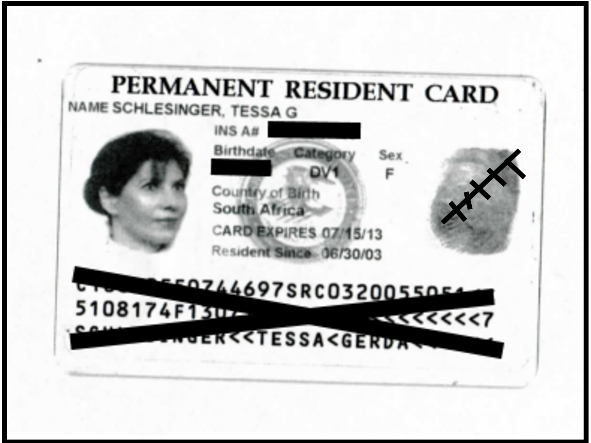 This is what my green card looked like. It's actually pink. A green card is permittion to reside and work in America. This called permanent residence. It does not confer citizenship.