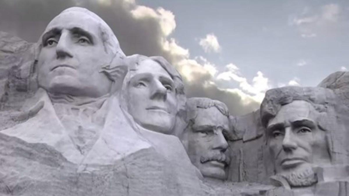 George Washington, Thomas Jefferson, Theodore Roosevelt, and Abraham Lincoln