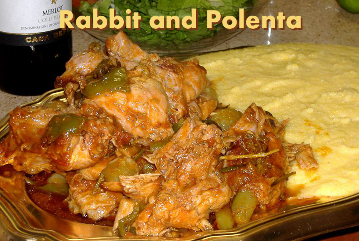 Rabbit and Polenta, typical dish of northern Italy, origins from the rural background: people used to eat what they grew themselves.