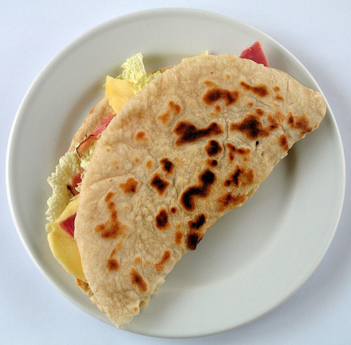 Piadina with Ham and Cheese.