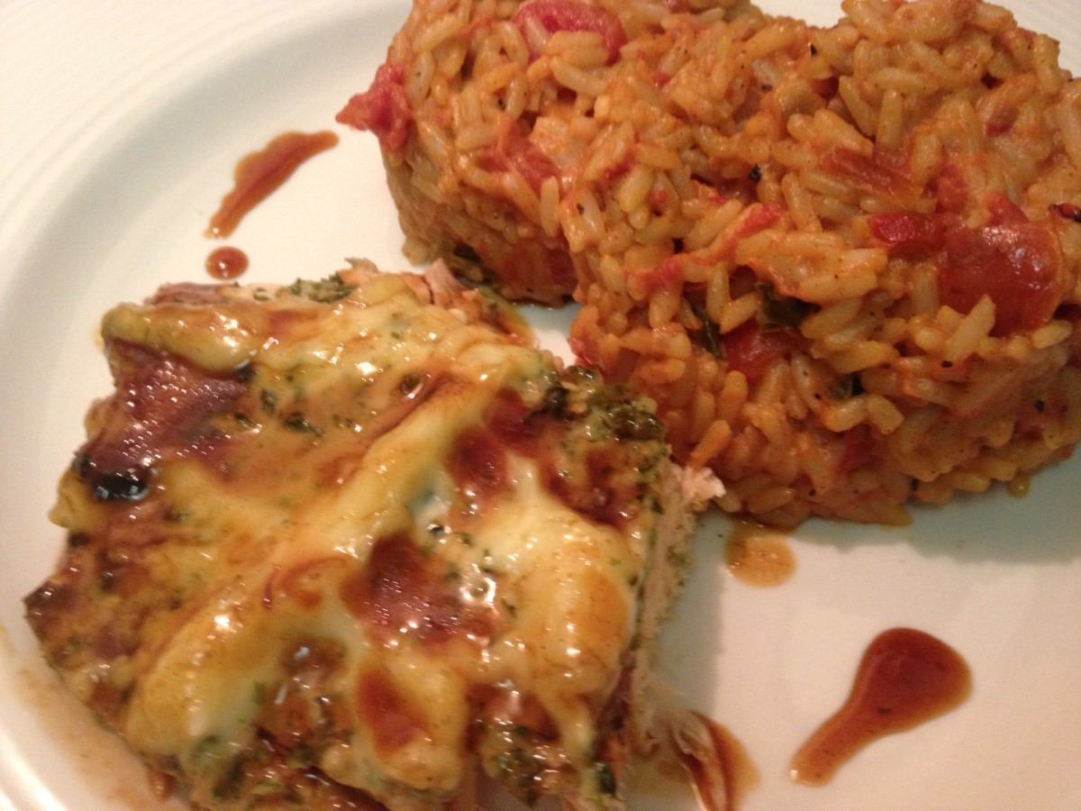 Hawaiian Style Spanish Rice plated with wasabi salmon - this is a very rich combo, but... you only live once.