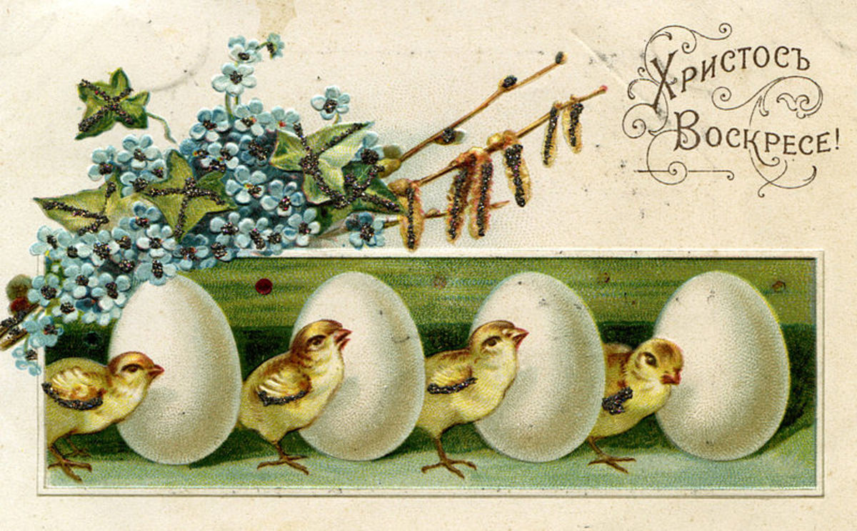 Old Russian Easter postcard, with little chicks and eggs all in a row.  Dated from approximately 1917 or earlier.