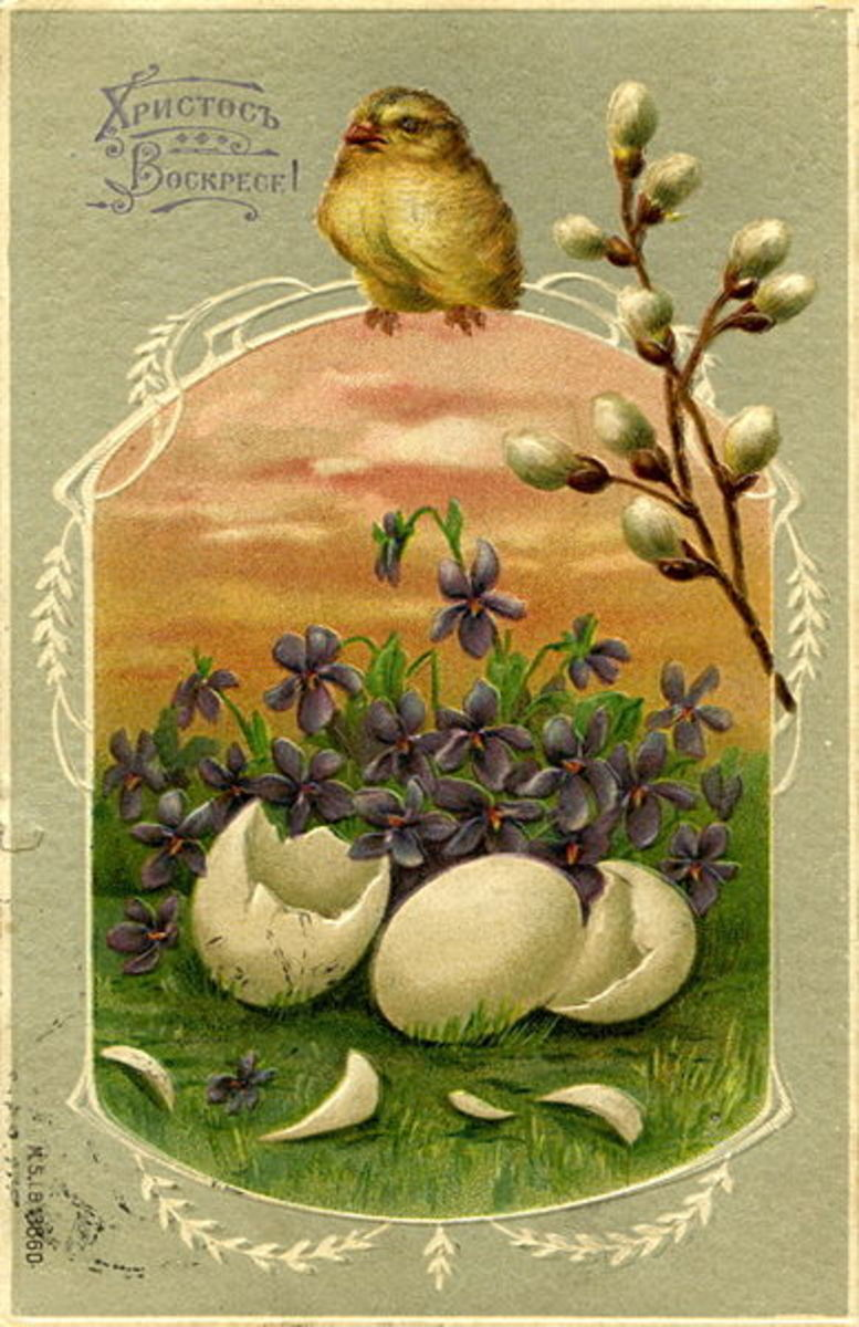 Old Russian Easter Postcard from before 1917.