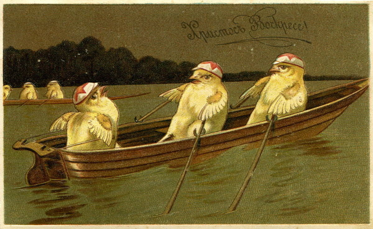 I love this one with the little chicks in a boat, rowing along!  Russian Easter postcard, from before 1917