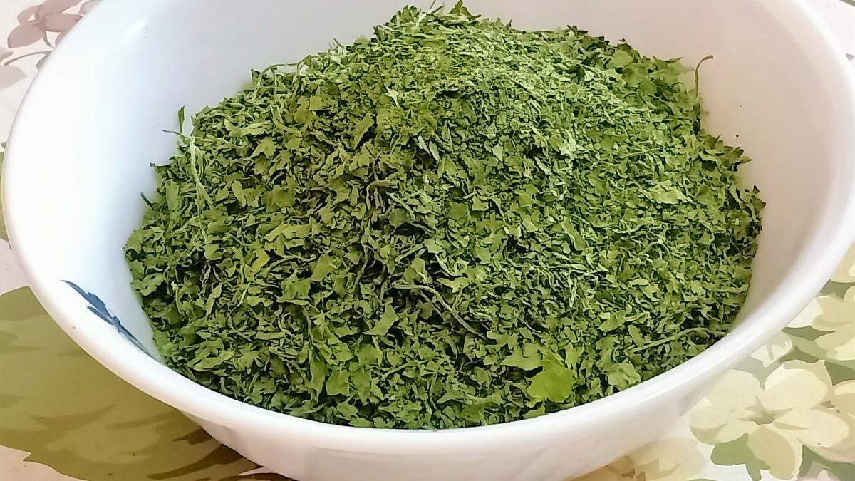 Homemade hara dhaniya (cilantro)