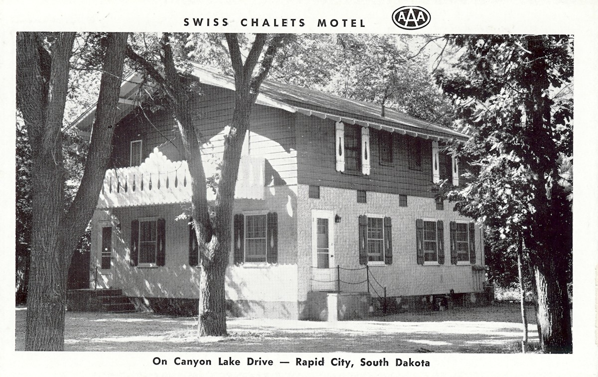 Swiss Chalets Motel - Vintage postcard from Rapid City, SD